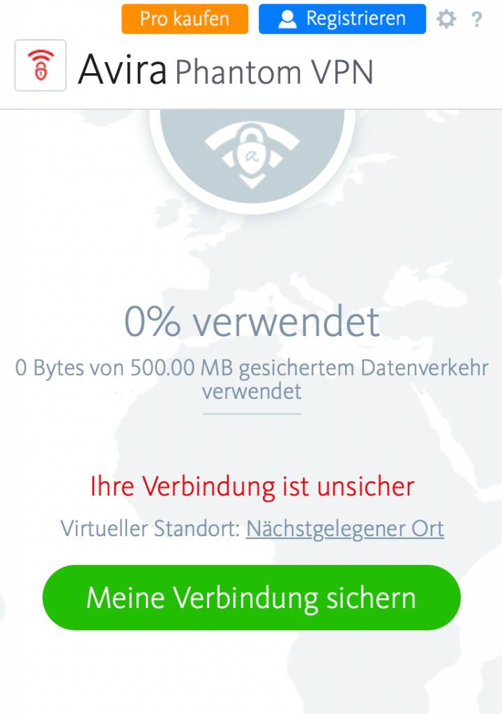 User Interface von Avira Phantom VPN auf macOS mit Anzeige des derzeitigen Sicherheitsstands der Verbindung