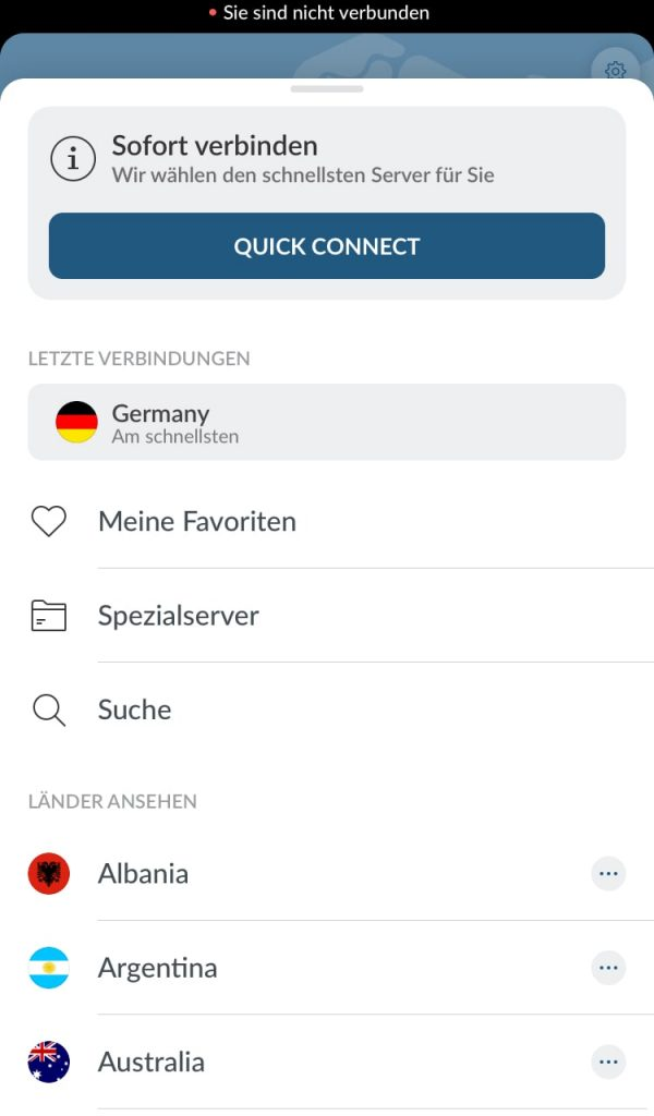 VPN App Interface von NordVPN