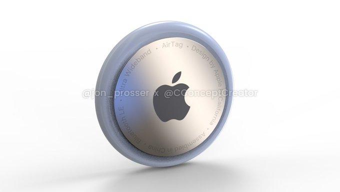 Konzeptfoto eines Apple AirTag in rundem Design mit Apple Logo