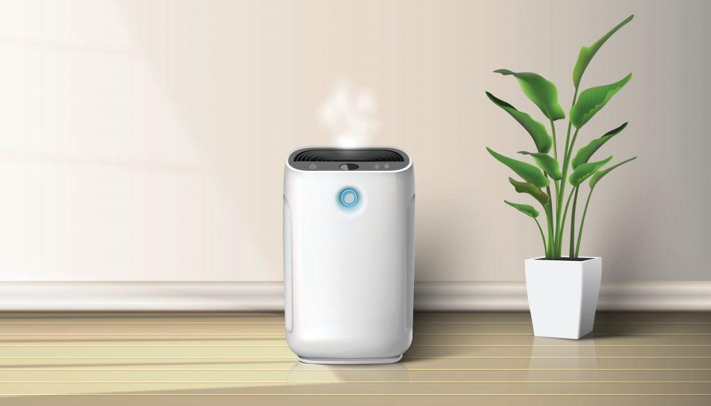 Luftreiniger gegen Zigarettenrauch bei Einsatz im Raum neben Zimmerpflanze